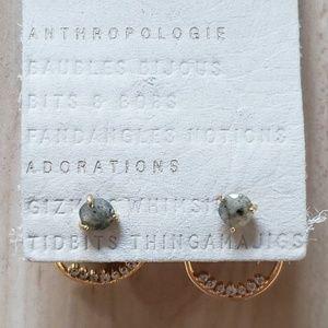 Anthropologie gold front back earrings